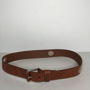 Country Road Leather Boho Belt Solid Brass Buckle